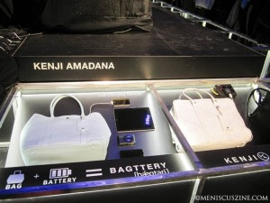 "Kenji Amadana's ""Bagttery"" is a stylish option for those fashionistas who need to charge mobile devices on the go. (photo by Mai D. Chan / Meniscus Magazine)"