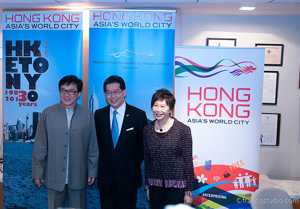 "Jackie Chan with Anita Chan (far right), director of the Hong Kong Economic Trade Office in New York. (photo by <a href=""http://francisphoto.com>Tienny Francis Latif</a> / Special for Meniscus Magazine)"