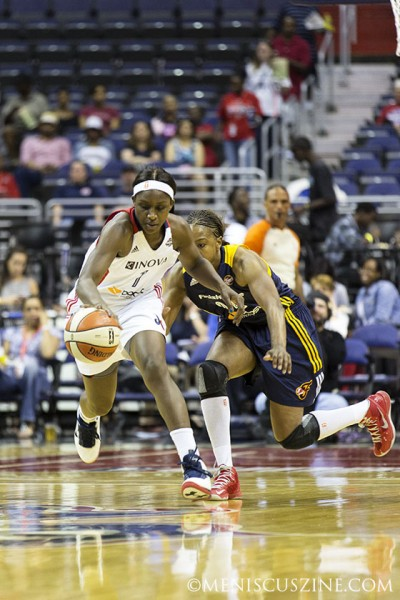 Washington's Crystal Langhorne had a perfect second half against the Indiana Fever, making all of her field goals and free throws. (photo by Kwai Chan / Meniscus Magazine)