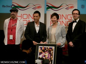 Donnie Yen with Subway Cinema's Daniel Craft (left) and Goran Topalovic (right), and Anita Chan (second from right), director of the Hong Kong Economic and Trade Office, New York. (photo by Yuan-Kwan Chan / Meniscus Magazine)