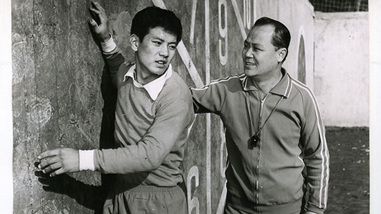 "In ""Centre Forward,"" In Son (played by Kim Chol) must follow a difficult training regimen set forth by Coach (Pak Tae Su). (photo courtesy of the Melbourne International Film Festival)"