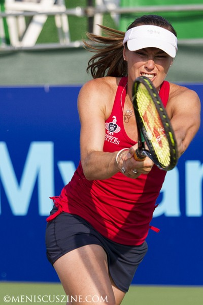 Martina Hingis, the 2013 Mylan WTT Female MVP, during the Kastles' win over Boston. Hingis recently announced her second comeback to the WTA pro circuit and is scheduled to compete in doubles at next month's Rogers Cup in Toronto. (photo by Kwai Chan / Meniscus Magazine)