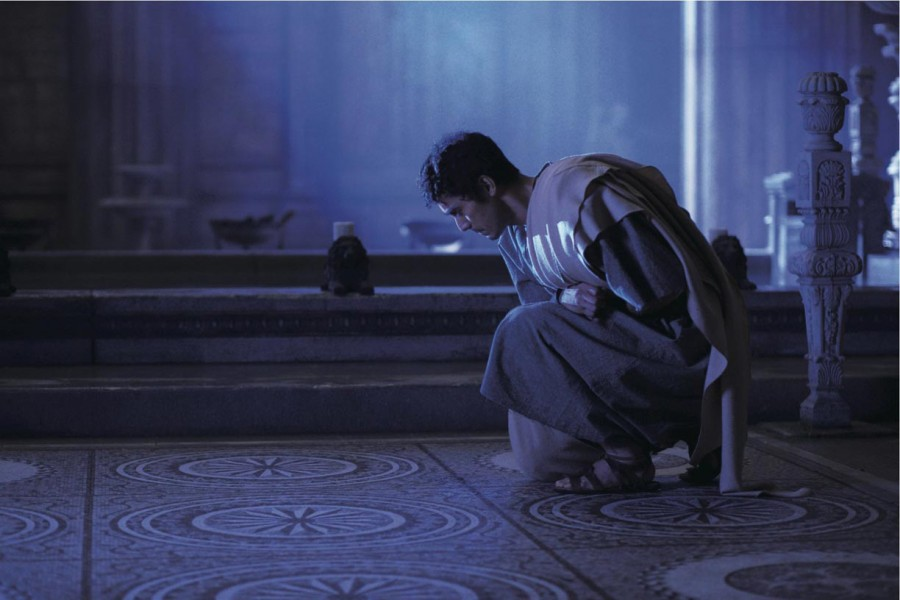 "Lucius (played by Hiroshi Abe) deep in thought. ""Thermae Romae"" was shot on location in Italy and Japan. (photo courtesy of the Japan Society)"