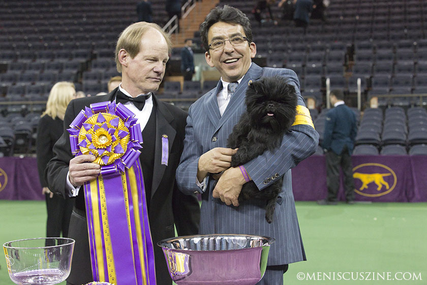 Judge Michael Dougherty, handler Ernesto Lara and Banana Joe with the Best in Show ribbon and trophy at Madison Square Garden. (photo by Kwai Chan / Meniscus Magazine)