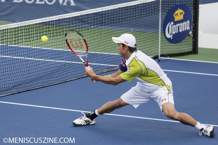 Kei Nishikori wears UNIQLO at the 2013 Citi Open in Washington, D.C.: hat, wristband, shirt, shorts. (photo by Kwai Chan / Meniscus Magazine)