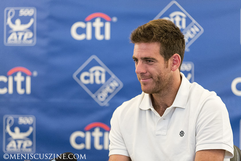 Juan Martin del Potro meets reporters on July 29 at the Citi Open. The press conference kicked off his North American hardcourt season, which includes stops in D.C., Montreal and Cincinnati before the U.S. Open. (photo by Kwai Chan / Meniscus Magazine)