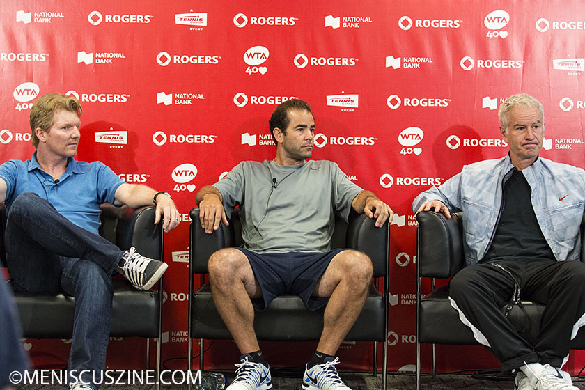 Jim Courier, Pete Sampras and John McEnroe were in Toronto on Aug. 10 to talk to the press and play some exhibition matches at the 2013 Rogers Cup. (photo by Kwai Chan / Meniscus Magazine)