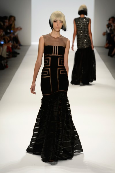 An evening gown from the Carmen Marc Valvo Spring 2014 runway show in New York. (photo courtesy of Getty Images)