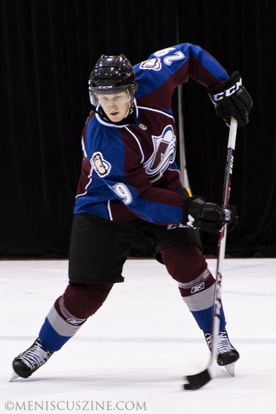 Nathan MacKinnon of the Colorado Avalanche has 18 points so far this season (six goals, 12 assists), third-highest on the NHL rookie list. (photo by Kwai Chan / Meniscus Magazine)