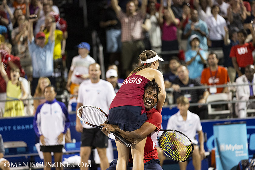 Before he won the 2013 U.S. Open men's doubles title, Leander Paes and Martina Hingis clinched the Washington Kastles' third straight Mylan World TeamTennis Finals. (photo by Kwai Chan / Meniscus Magazine)