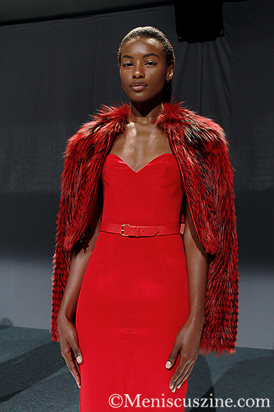 Mathieu Mirano Spring 2014: Red Crepe Cocktail Dress with Red Leather Belt and Red Feathered Silver Fox Cropped Jacket (photo by Ekaterina Golovinskaya / Meniscus Magazine)