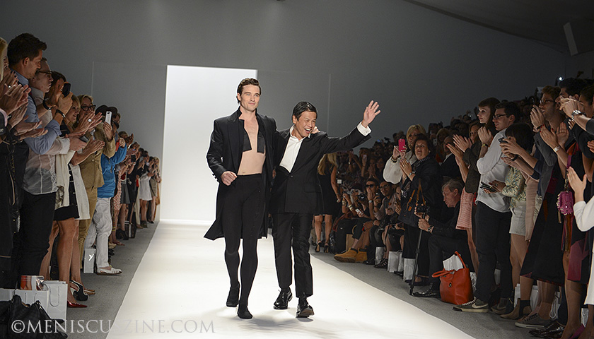 Season after season, fashion designer Zang Toi (right) loves to invite his favorite models to take the runway in his shows. One of those is American Ballet Theatre principal dancer Cory Stearns (left), also the muse for Toi's Spring 2014 collection. (photo by Semon Tam for Meniscus Magazine)