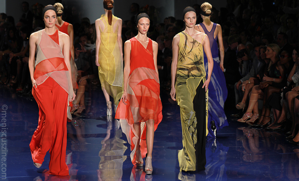 Several looks from the Vera Wang Spring 2014 runway show in New York. (photo by Ekaterina Golovinskaya / Meniscus Magazine)