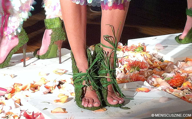 Stilettos made of Astroturf and leaves in the 5:31 Jérôme Spring 2014 collection. (photo by Andie Davis / Meniscus Magazine)