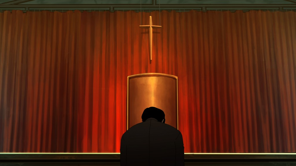 "Praying for redemption in ""The Fake,"" South Korean director Yeon Sang-ho's second animated feature. (photo courtesy of the Busan International Film Festival)"