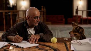 "Kamboziya Partovi (The Writer) and his dog Boy in a scene from Jafar Panahi and Kamboziya Partovi's ""Closed Curtain"" (still courtesy of the San Diego Asian Film Festival)."