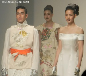 Popular Thai actor-models Barry Nadech Kugimiya (left) and Yaya Urassaya Sperbund (far right) in the Nagara show at Bangkok International Fashion Week 2013. (photo by Yuan-Kwan Chan / Meniscus Magazine)