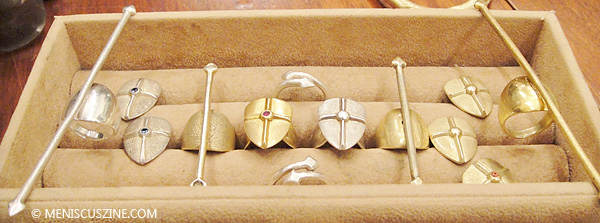 Shield earrings US$180 to $320 per pair) and spear rings ($240 to $420 each). (photo by Dana Ter / Meniscus Magazine)