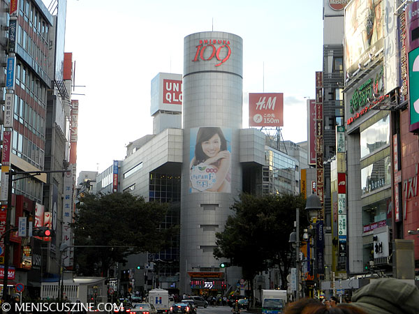 Atsuko Maeda, front and center, in an advertisement on the 109 department store in Tokyo's Shibuya neighborhood. (photo by Yuan-Kwan Chan / Meniscus Magazine)
