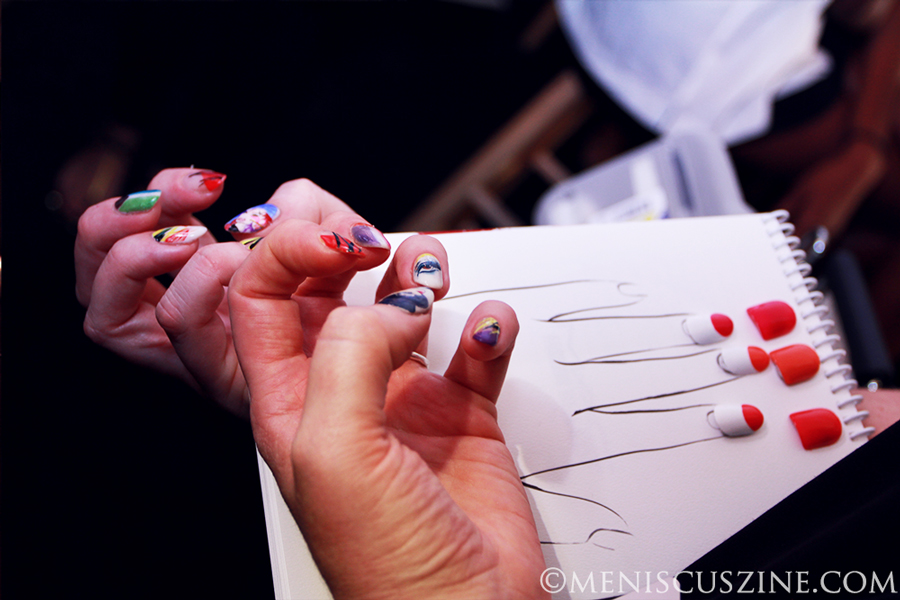Comparing nails to concept backstage at the Desigual Spring 2014 show  - the company's first-ever at New York Fashion Week. (photo by Ekaterina Golovinskaya / Meniscus Magazine)