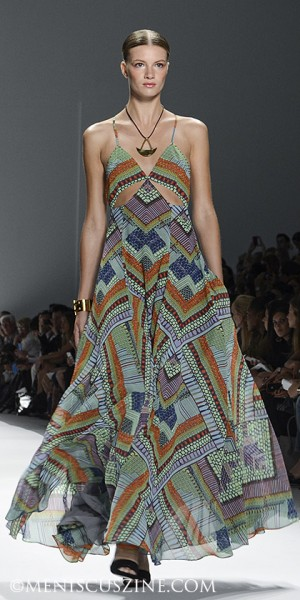 A dress from the Mara Hoffman Spring 2014 runway show in New York. (photo by Semon Tam for Meniscus Magazine)