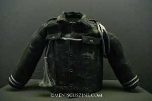 D3 Wen Ying HUANG (Taiwan) Military Coat; Digital Jacquard hand weaving and hand sewing; Stainless steel, Teflon cable and wire mesh