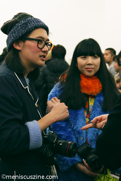 Fashion blogger Susie Bubble (right) was one of the many attendees at the Leather Japan Fall 2014 opening reception. (photo by Yanek Che / Meniscus Magazine)