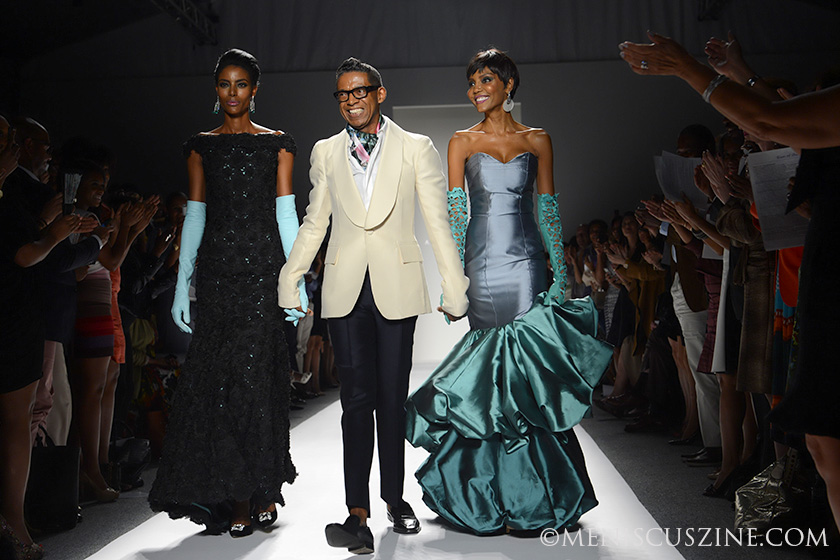B Michael (center) with two of his models at his New York Fashion Week Spring 2014 show. Celebrity attendees included Cuba Gooding Jr. and Cicely Tyson. (photo by Semon Tam for Meniscus Magazine)