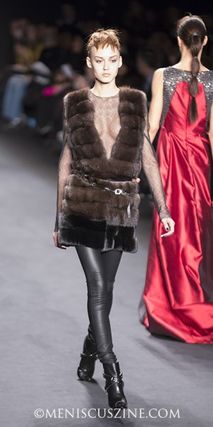 Fur and sequins at the Carmen Marc Valvo Fall 2014 show. (photo by Kwai Chan / Meniscus Magazine)