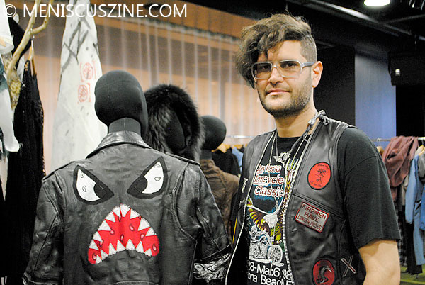 Bohemian Society designer Victor Wilde in Tokyo with the jacket made famous by Daft Punk and Julian Casablancas. (photo by Megan Lee / Meniscus Magazine)