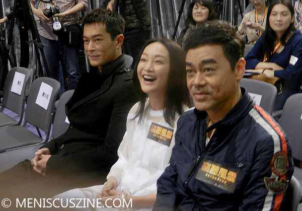 "Louis Koo, Zhou Xun and Lau Ching-Wan at the ""Overheard 3"" press conference in Hong Kong on Mar. 25, 2014. (photo by Yuan-Kwan Chan / Meniscus Magazine)"