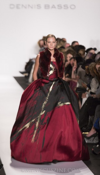 A look from the Dennis Basso Fall 2014 collection. (photo by Kwai Chan / Meniscus Magazine)
