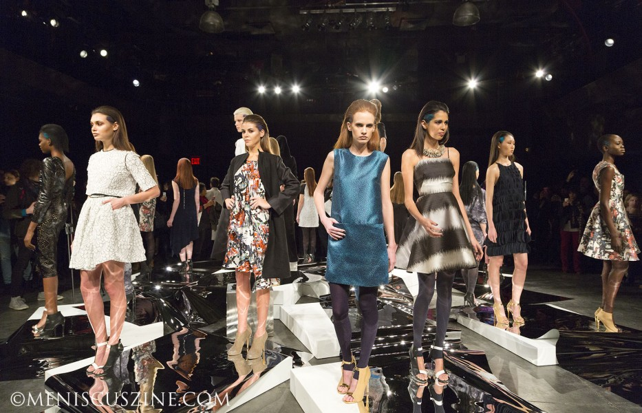 Models at the Hudson Hotel, or what Mercedes-Benz Fashion Week organizers referred to as The Hub.  The Czar by Cesar Galindo Fall 2014 presentation was one of several staged at this new venue, located several blocks south of the main event at Lincoln Center. (photo by Kwai Chan / Meniscus Magazine)
