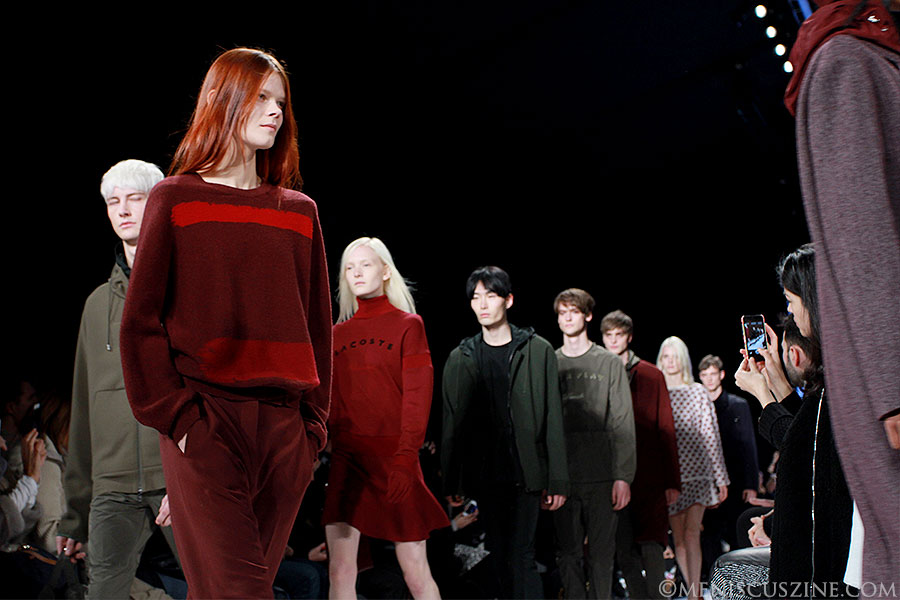 Various Lacoste Fall 2014 outfits shown on the runway in New York. (photo by Ekaterina Golovinskaya / Meniscus Magazine)