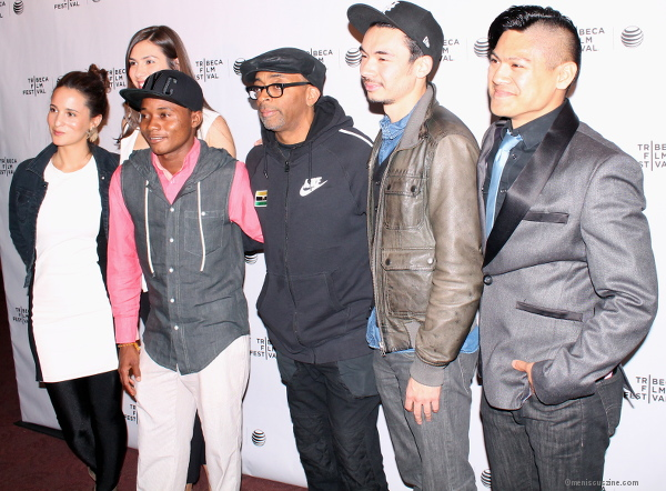 "(l-r) ""Manos Sucias"" producer Elena Greenlee, producer Marcia Nunes, actor Cristian James Abvincula, executive producer Spike Lee, director Josef Wladyka and cinematographer Alan Blanco. (photo by Shelly Xu / Meniscus Magazine)"