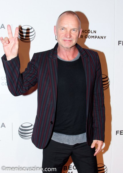 "Sting flashes a peace sign at the Apr. 24 screening of ""Third Person"" at the 2014 Tribeca Film Festival. (photo by Yanek Che / Meniscus Magazine)"