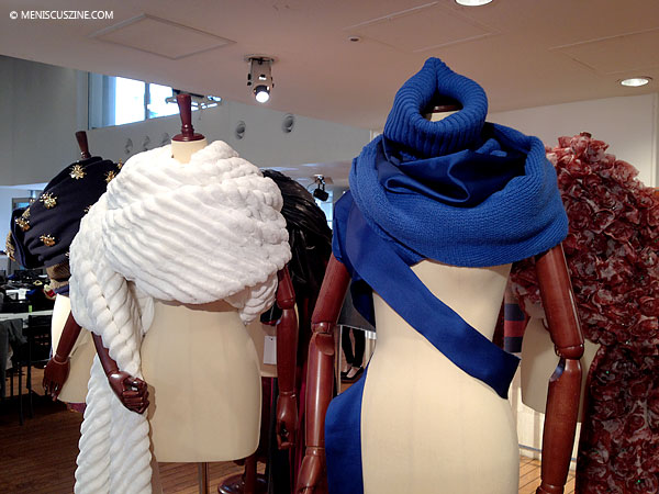 Scarves from the Undercover by Jun Takahashi Fall 2014 collection. (photo by Megan Lee / Meniscus Magazine)