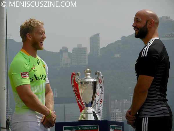 Kyle Brown of South Africa and DJ Forbes of New Zealand - 2014 Hong Kong Sevens