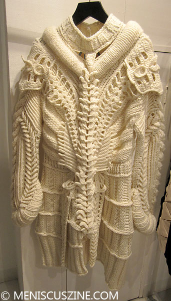 The exoskeleton white knit sweater from the Somarta Fall 2014 collection. (photo by Megan Lee / Meniscus Magazine)