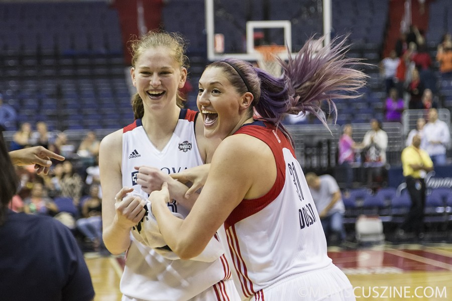 Emma Meesseman (left), shown with Mystics teammate Stefanie Dolson, posted career numbers against the Connecticut Sun on June 27. (photo by Kwai Chan / Meniscus Magazine)