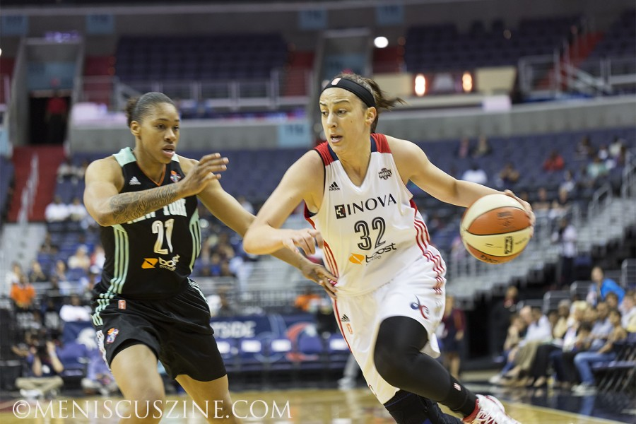 Jelena Milovanovic of the Washington Mystics against the New York Liberty. (photo by Kwai Chan / Meniscus Magazine)