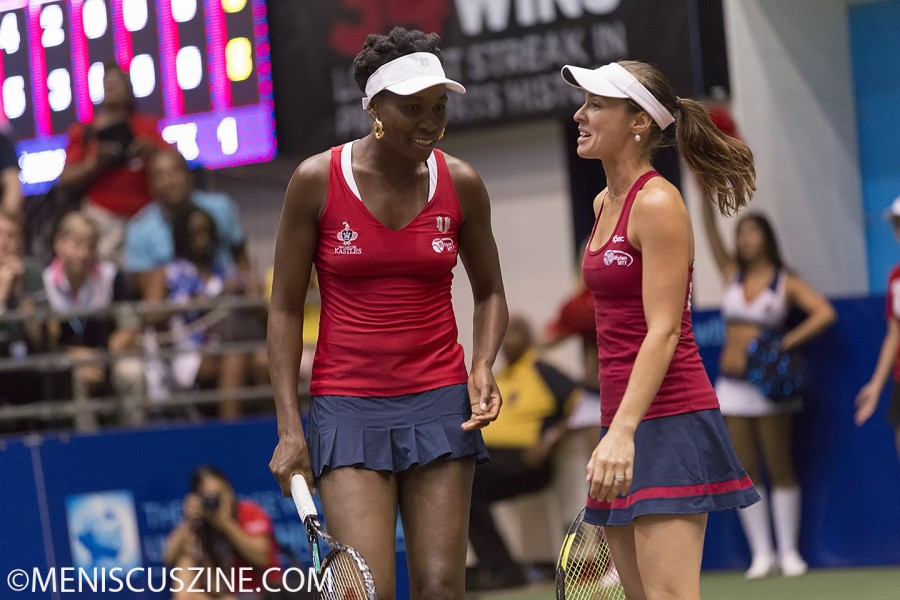 Venus Williams (left) and Martina Hingis played doubles together for the first time - as Washington Kastles teammates. (photo by Kwai Chan / Meniscus Magazine)