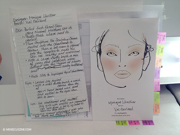 The directions given to make-up artists for skin, eyes and lips at the Monique Lhuillier Fall 2014 fashion show. (photo by Angela K. Hom / Meniscus Magazine)