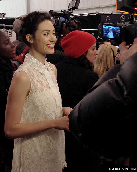 Actress and singer Emmy Rossum granting interviews before the Monique Lhuiller Fall 2014 show in New York. (photo by Angela K. Hom / Meniscus Magazine)
