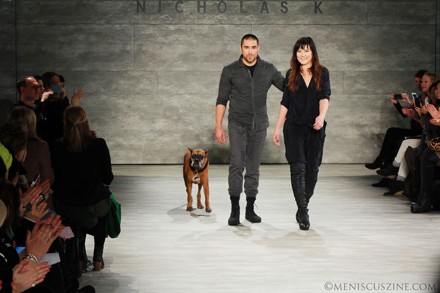 The brother-and-sister design duo of Nicholas K - Chris and Nicholas Kunz - at the end of their runway show at Lincoln Center. (photo by Ekaterina Golovinskaya / Meniscus Magazine)