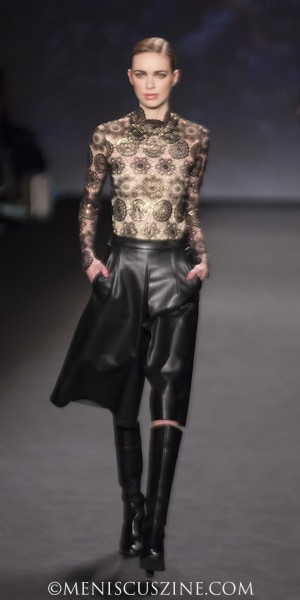 On Kelsey: Black and gold lace medallion top Black leather culotte Black booties (photo by Kwai Chan / Meniscus Magazine)