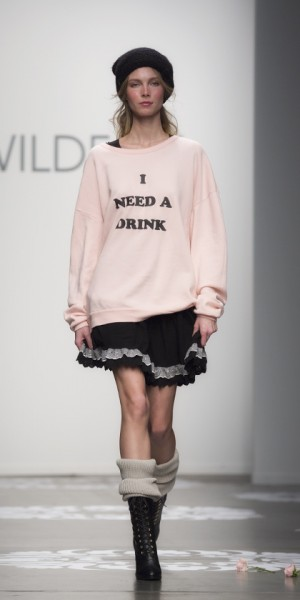 She needs a drink, and so do we after seeing the Wildfox Fall 2014 collection in New York. (photo by Kwai Chan / Meniscus Magazine)