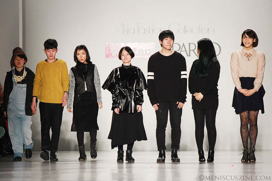 Various designers at the end of the Asia Fashion Collection show in New York, which included VIANAD ViVijoanne Anais dorsbien among five other labels. (photo by Ekaterina Golovinskaya / Meniscus Magazine)
