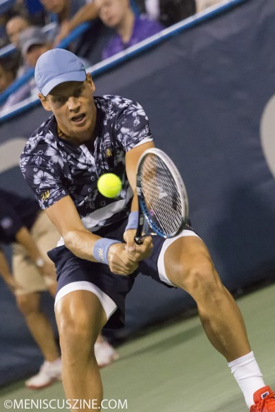 Tomas Berdych's cacophonous H&M style on display at the 2014 Citi Open in Washington, D.C. (photo by Kwai Chan / Meniscus Magazine)