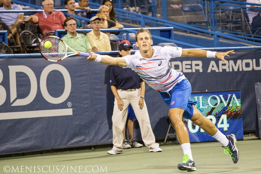 Vasek Pospisil ran out of gas against his Davis Cup teammate Milos Raonic in the 2014 Citi Open championship match. (photo by Kwai Chan / Meniscus Magazine)